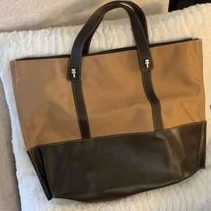 Leather and nylon tote
